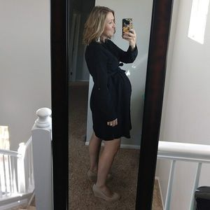Motherhood Maternity Dresses - Motherhood black button down shirt dress size M